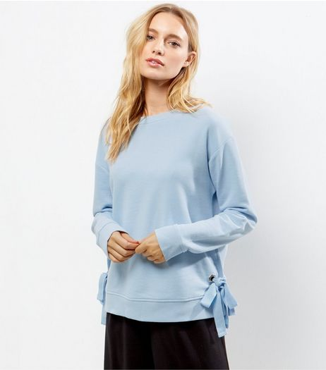 Pale Blue Tie Side Sweater  | New Look