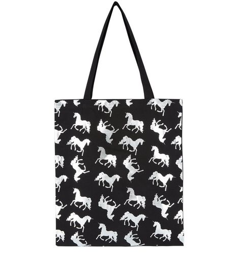 Black Metallic Unicorn Print Canvas Bag | New Look