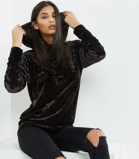Black Velvet Oversized Hoodie | New Look