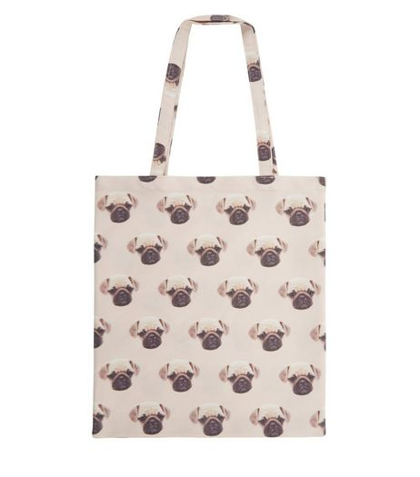 Pink Pug Print Canvas Bag  | New Look