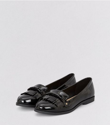 Black Patent Fringe Trim Loafers  | New Look