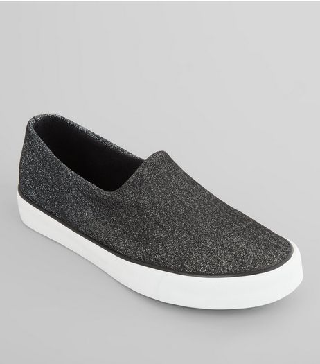 Black Shimmer Slip On Plimsolls | New Look