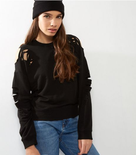 Black Ripped Long Sleeve Sweater  | New Look
