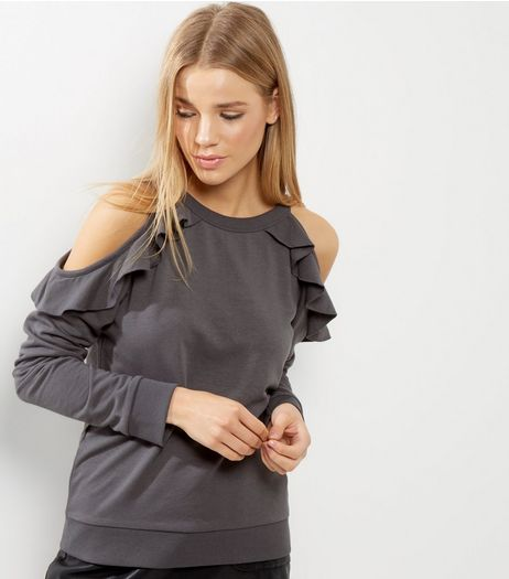 Dark Grey Frill Trim Cold Shoulder Sweater | New Look