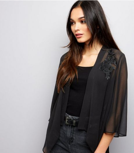 Black Chiffon Floral Badge Trim Kimono  | New Look