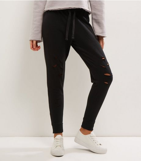 Black Ripped Joggers  | New Look