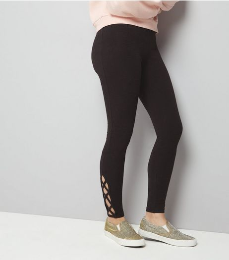Teens Black Lattice Hem Leggings | New Look