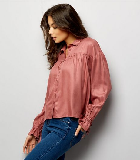 Mid Pink Cuff Sleeve Shirt  | New Look