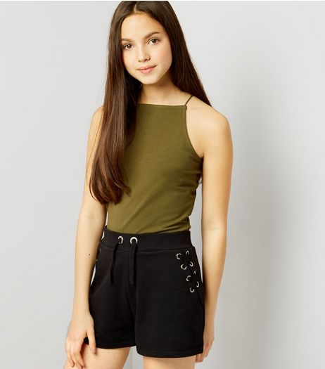 Teens Black Eyelet Trim Tie Side Shorts  | New Look