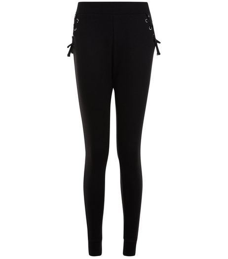 Teens Black Eyelet Lattice Trim Joggers | New Look