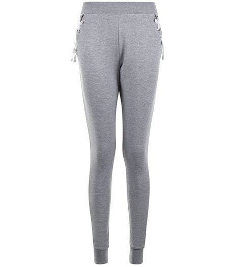 Teens Grey Eyelet Lattice Trim Joggers | New Look