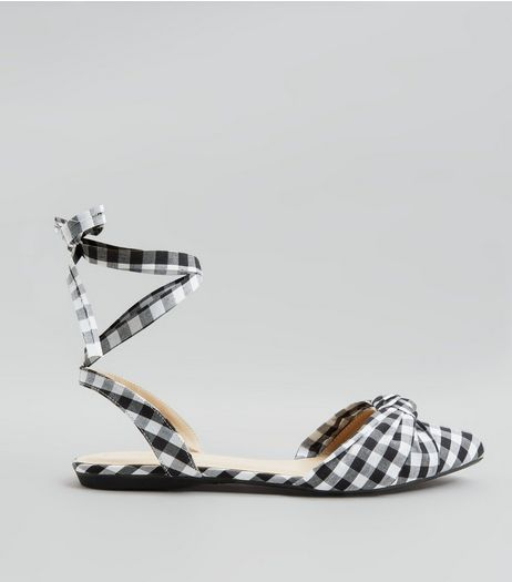 Black Gingham Knot Front Tie Up Sandals | New Look