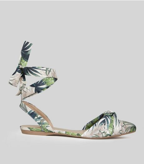 Cream Tropical Print Tie Back Pointed Sandals  | New Look