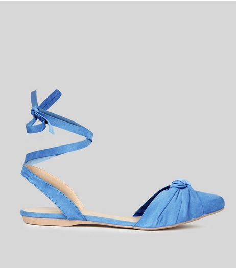 Pale Blue Knot Front Tie Up Sandals | New Look
