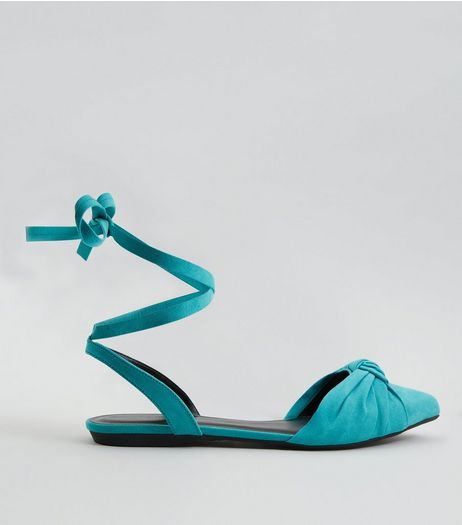 Turquoise Knot Front Tie Up Sandals | New Look