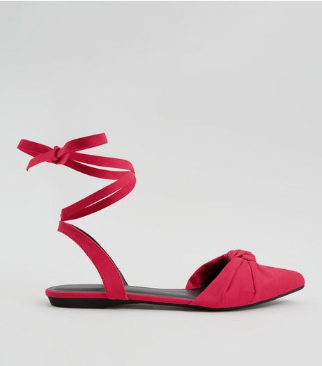 Pink Knot Front Tie Up Sandals | New Look