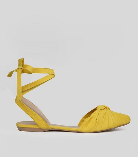 Yellow Knot Front Tie Up Sandals | New Look