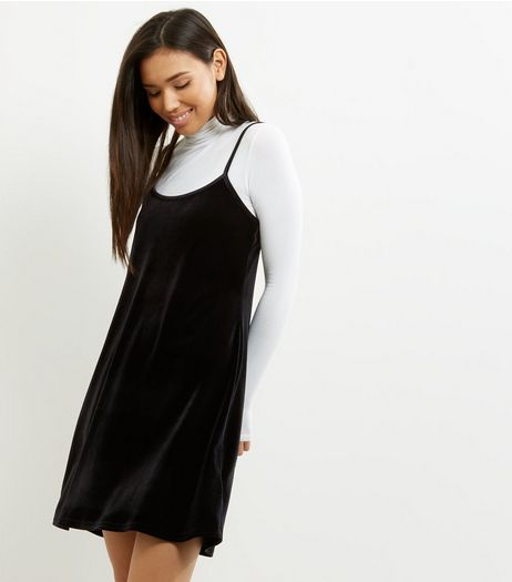 Black Velvet Strappy Skater Dress  | New Look