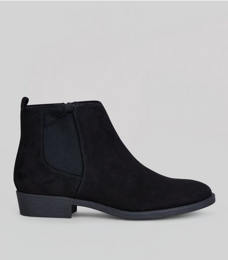Black Suedette Low Heel Chelsea Boots | New Look