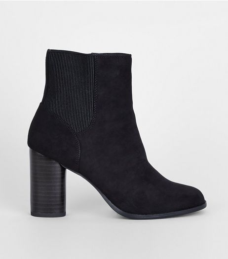 Black Suedette Elasticated High Ankle Boots | New Look