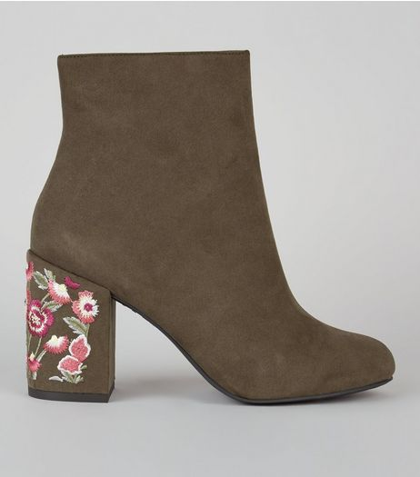 Dark Green Suedette Floral Embroidered Heel Boots | New Look