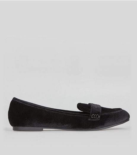 Black Velvet Loafers | New Look