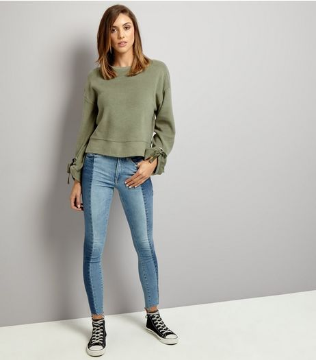 Khaki Tie Sleeve Jumper | New Look