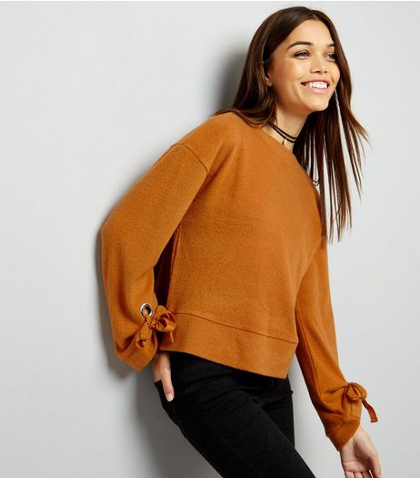 Yellow Eyelet Tie Sleeve Jumper | New Look