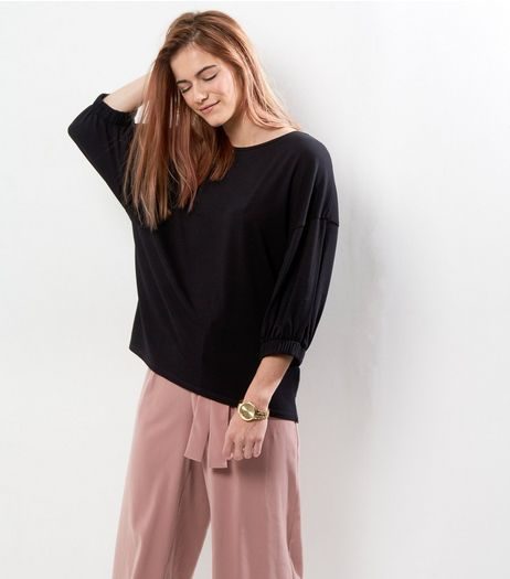 Black Crepe Elastic Sleeve Top  | New Look