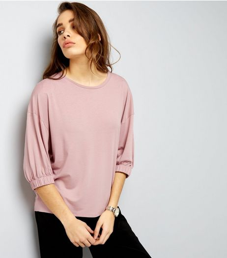 Mid Pink Crepe Elastic Sleeve Top | New Look