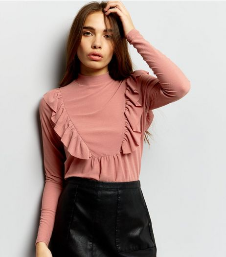 Mid Pink Frill Trim Turtle Neck Long Sleeve Top  | New Look