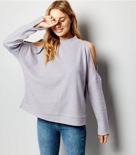 Lilac Funnel Neck Cold Shoulder Jumper  | New Look