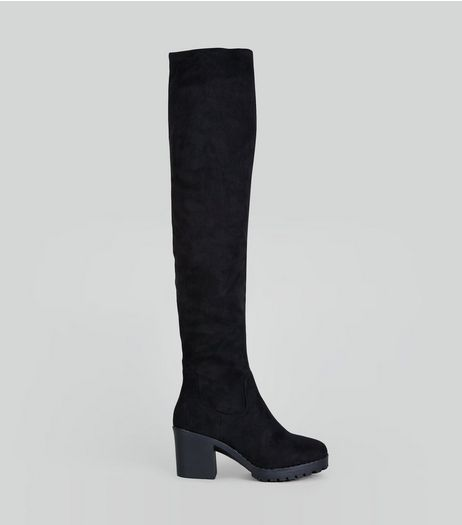 Black Suedette Over The Knee Chunky Boots | New Look