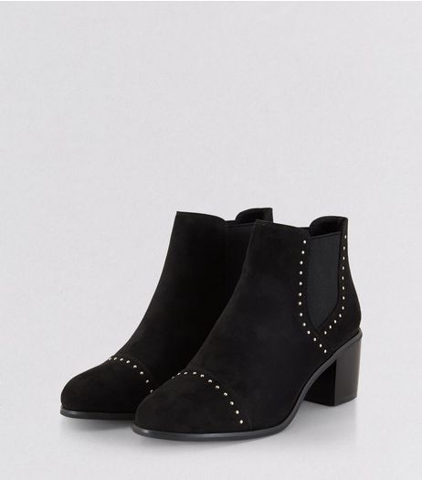 Black Suedette Stud Trim Heeled Boots | New Look
