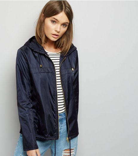 Navy Zip Front Fold Away Anorak | New Look