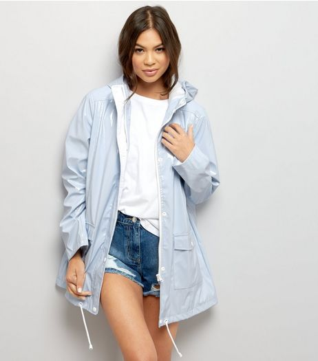 Pale Blue Patent Hooded Anorak  | New Look