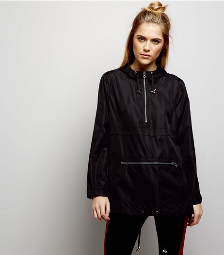 Black Pull-Over Fold Away Anorak  | New Look