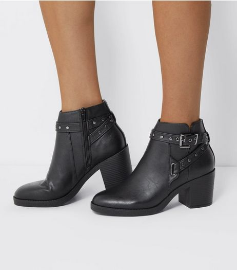 Black Studded Strap Block Heel Boots | New Look