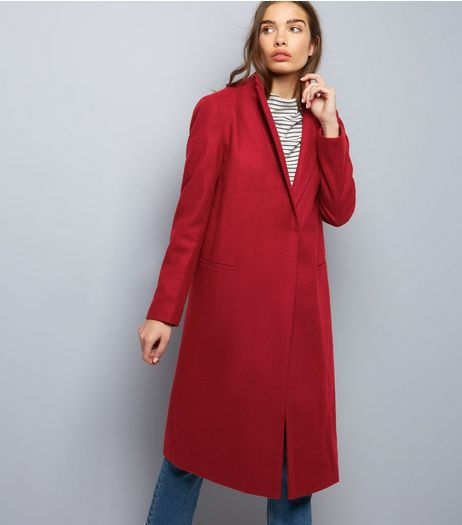 Dark Red Midi Coat | New Look