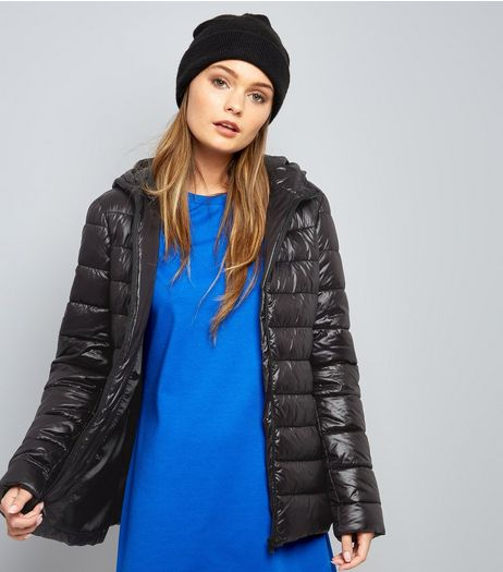 Black Hooded Puffer Jacket  | New Look