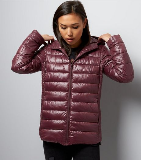 Burgundy Metallic Puffer Jacket  | New Look
