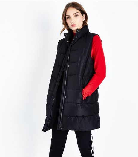 Black Midi Puffer Gilet | New Look