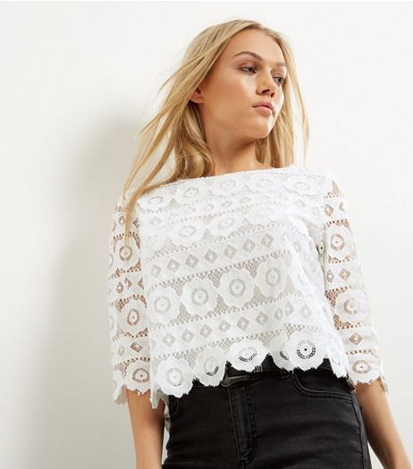 Petite Cream Floral Lace Half Sleeve Top | New Look