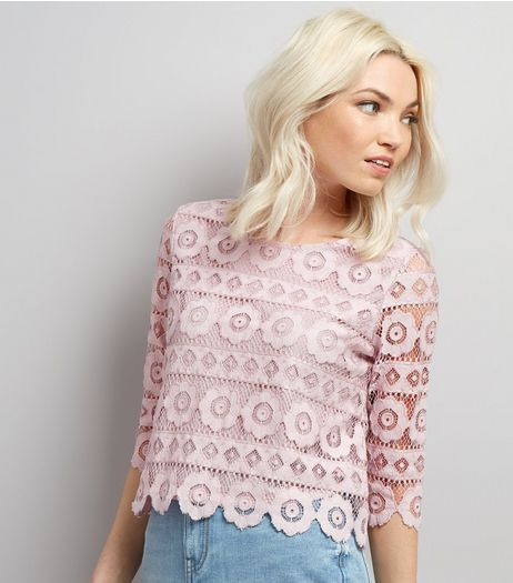 Petite Lilac Floral Lace Half Sleeve Top | New Look