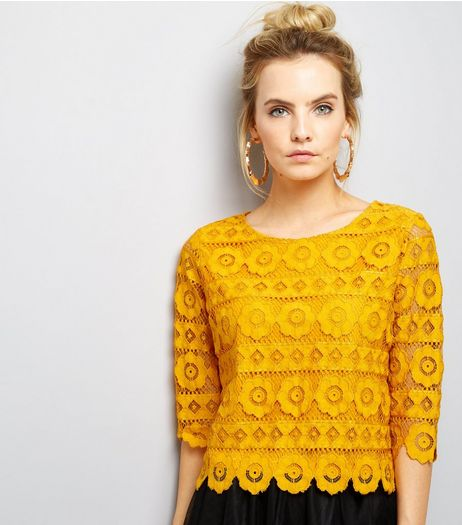 Petite Yellow Floral Lace Half Sleeve Top | New Look