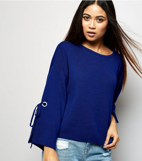 Petite Blue Wide Tie Sleeve Jumper  | New Look
