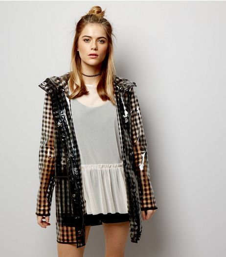 Black Gingham Check Clear Anorak  | New Look