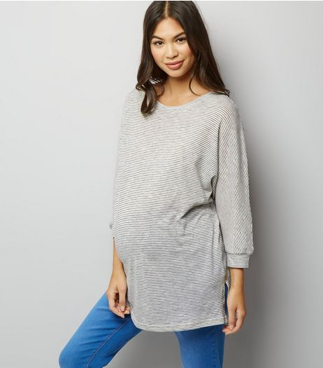 Maternity Grey Stripe Batwing Sleeve T-Shirt | New Look