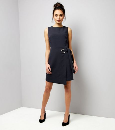Navy Ring Trim Wrap Front Dress | New Look