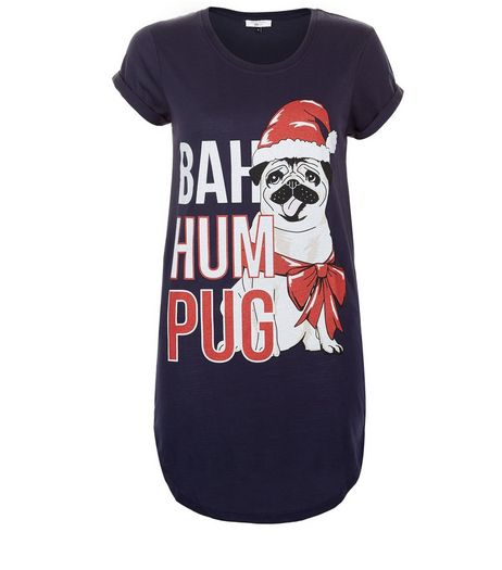 Teens Navy Bah Hum Pug Oversized Pyjama T-Shirt | New Look